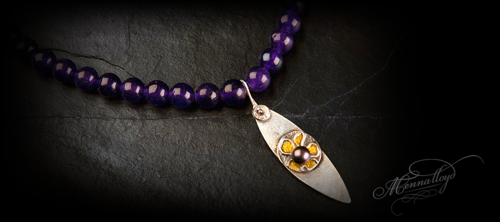 Blodeuwedd Amethyst Drop Necklace